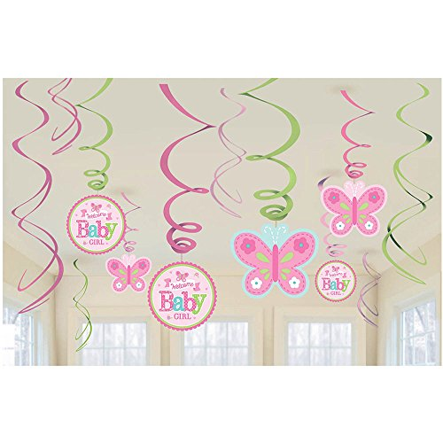 Welcome Little One Baby Girl Shower Party Hanging Swirls Decoration Kit, Foil, Pack of (Baby Shower Hanging Decorations)