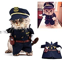 SMALLLEE_LUCKY_STORE Funny Cat Halloween Costume Dog Police Costume with Hat Pet Outfits Puppy Holiday Clothes Size S