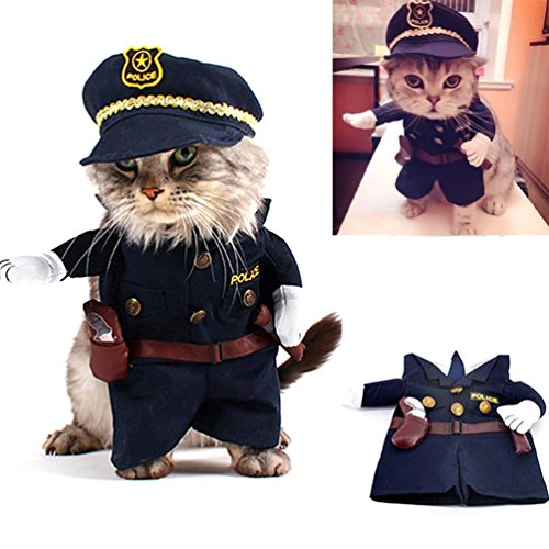 SMALLLEE_LUCKY_STORE Policeman Costume Outfits with Hat Collar Tie Clothes for Small Dog Cat Puppy Under 20 pounds -