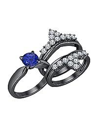 Beautiful Round Cut Created Blue & White Sapphire 14K Black Gold Plated Crown Enhancer Wedding Set