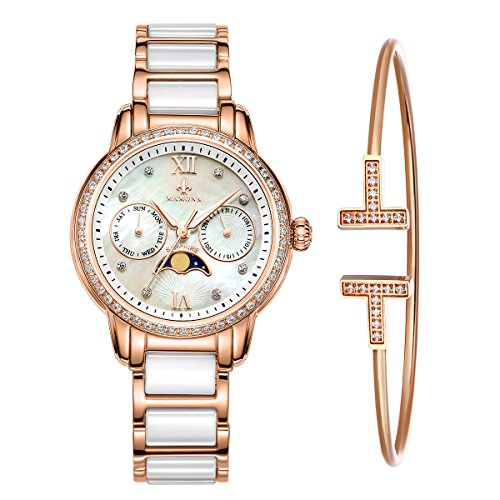 MAMONA-Womens-Rose-Gold-Chronograph-Watch-Bracelet-Set-StainlessSteelCeramic-with-Calendar-L58010RGGT
