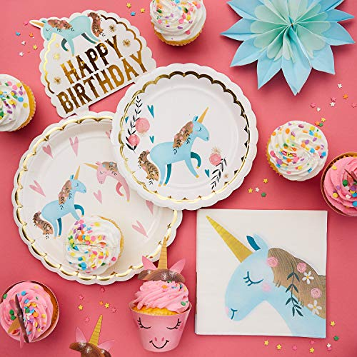 Review Of Sparkle Unicorn Party Supplies - 61 pcs Unicorn Paper Plates, Cups, Napkins, and Cake Topp...