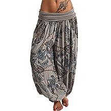 Naladoo Women Fashion Casual Print Harem Pants Wide Leg Loose Dancing Trousers
