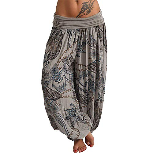 SERYU Loose Pocket Button Harem Pants Women Casual Print Pants Wide Leg -
