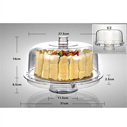 HBlife 6-in-1 Acrylic Cake Stand Multifunctional Serving Platter and Cake Plate With Dome (6-in-1 Cake Dome) by HBlife (Image #5)