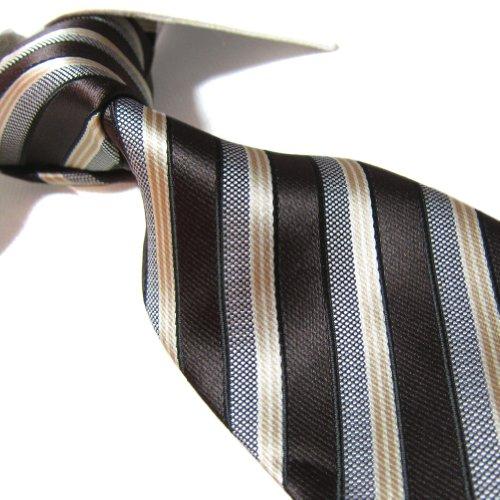Extra Long Microfibre Tie Brown/Golden Stripe Polyester XL Men's Necktie 63'