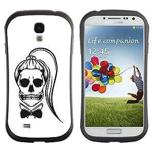 Be-Star Impreso Colorido Diseño Antichoque Caso Del Iface Primera Clase Tpu Carcasa Funda Case Cubierta Par SAMSUNG Galaxy S4 IV / i9500 / i9515 / i9505G / SGH-i337 ( funny ponytail skull girl death white )