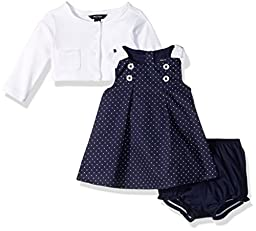 Nautica Baby Girls\' Woven Dress with Cardigan, Navy, 0/3 Months