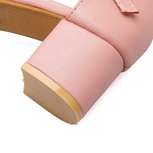 de AllhqFashion Hebilla Rosa Tacón Cerrada Mujeres Sólido vestir Puntera ancho Sandalias HOrHqUx8w