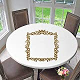 PINAFORE HOME Round Premium Table Cloth gen Vintage Frame Mirror Design Retro Element Physical Realistic Reflection Perfect for Indoor, Outdoor 31.5''-35.5'' Round (Elastic Edge)