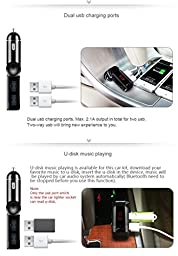 Upgrade Bluetooth FM Transmitter, RedHoney Wireless FM Radio Transmitter Adapter, In-Car Bluetooth Receiver Car Charger Handsfree Calling MP3 Player With Two-Way Plug Dual USB Port