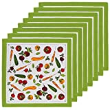 "Set Of 8 Veggie Market Print Colored Cotton Table Napkins 20"" x 20"" Cloth By Tag"