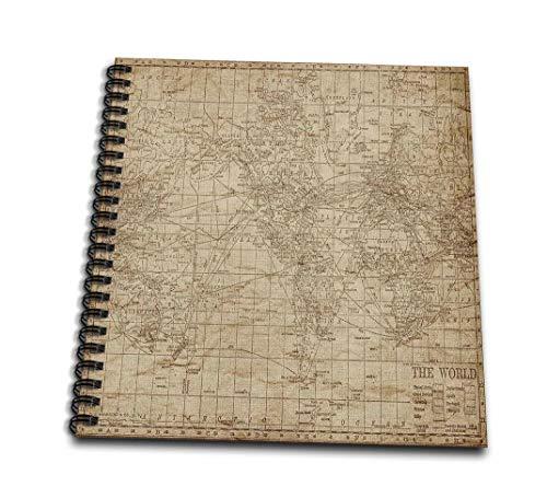 Anne Marie Baughマップ–Anアンティークマップ世界のブラウンの–Drawing Book 12x12 memory book db_159366_2