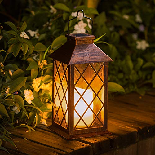 TAKE ME Solar Lantern,Outdoor Garden Hanging Lantern-Waterproof LED Flickering Flameless Candle Mission Lights for -