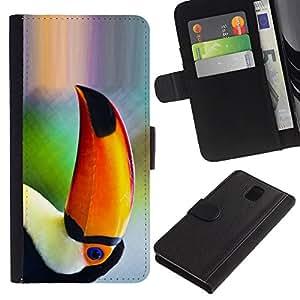 """Samsung Galaxy Note 3 III N9000 N9002 N9005 , la tarjeta de Crédito Slots PU Funda de cuero Monedero caso cubierta de piel ("""" Parrot Bird Tropical Nature Orange Rainforest"""")"""