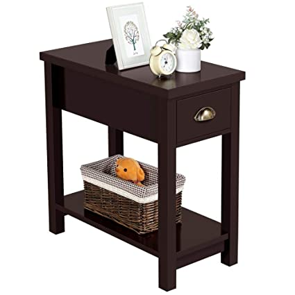 Awesome Yaheetech Narrow Slim End Tables With Drawers Shelf Sofa Caraccident5 Cool Chair Designs And Ideas Caraccident5Info