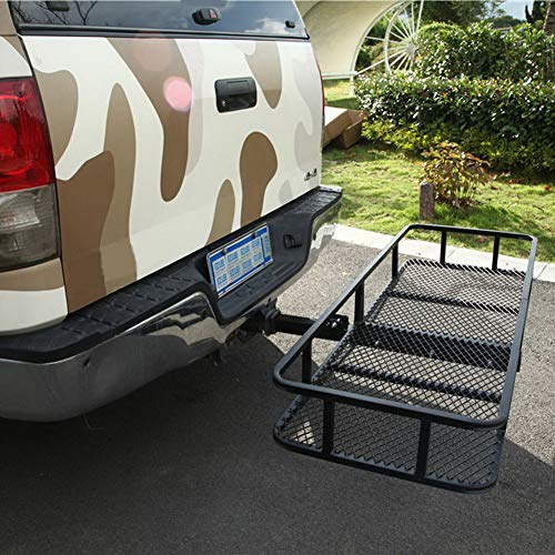 Lovinland Folding Cargo Carrier Hitch Mounted Luggage Basket Rack 60 x 21 Inch 500 Lbs Capacity with Waterproof Bag for SUV Car Black -