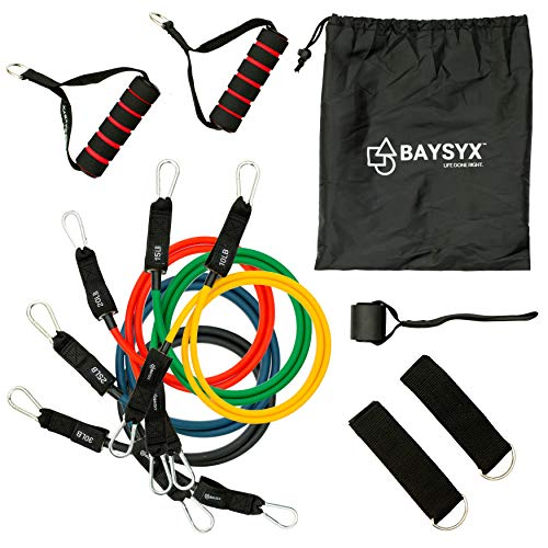 BAYSYX - Premium Resistance Exercise Tube Bands | Set of 5 Tension Levels | Customizable Mix & Match Ankle & Wrist Straps | Free Carrying Bag & Training Guide | Includes Door Stopper Attachment