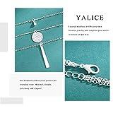 Yalice Multi-Layered Disc Necklace Chain Bar Drop