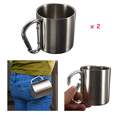 HOT ! NEW 2 X 220ml Portable Stainless Steel Mug Camping Cup Carabiner Double Wall