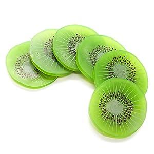 Buorsa 12 Pcs Artificial Kiwi Slice Simulation Fruit Slice Model for Home Party Decoration 106