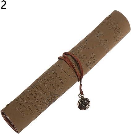 neaverler - 1 bolsa de maquillaje de lujo estilo vintage, material escolar, estilo mapa del tesoro, estuche para lápices, estuche de piel 2: Amazon.es: Oficina y papelería