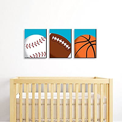 "Go, Fight, Win - Sports Themed Wall Art & Kids Room Decor - 7.5"" x 10"" - Set of 3 Prints"