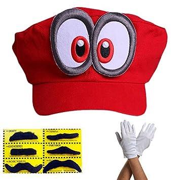 Super Mario Beanie ODYSSEY ROJO con ojos completo SET con guantes y 6x  Barbas adhesivas para 60cd8dd1821