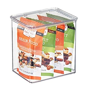 mDesign Kitchen, Pantry, Refrigerator, Freezer Storage Container Box with Hinged Lid - 3.1-Quarts, Clear