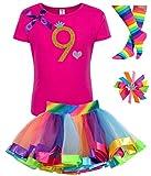Bubblegum Divas Big Girls 9th Birthday Shirt Rainbow Tutu Outfit 9-10