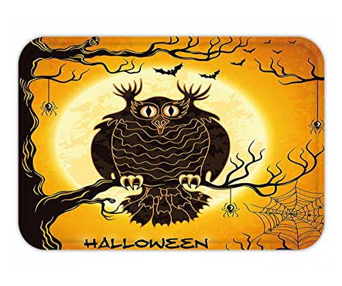 Minicoso Doormat Halloween Decorations Collection Spooky Owl on Tree Branch Surrounded by Spider Webs and Bats Fear Themed Decor Orange Black