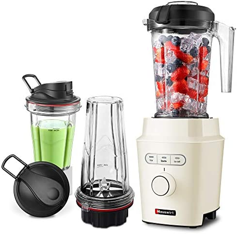 Hauswirt 1200W High Speed Blender with BPA-Free Tritan 51 Oz Pitcher, 25 Oz, 16 Oz To-go Cups for Single Personal and Family Serving, Powerful Professional Countertop Kitchen Food Mixer For Ice Frozen Fruit Crushing, Nuts Butter, Shakes and Smoothies - Metal Body, Cream White