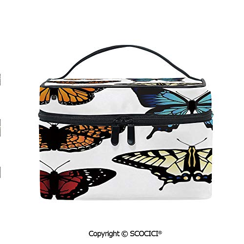 Printed Portable Travel Makeup Cosmetic Bag Five Different Butterflies Colorful Monarch Lady Insect Wings Spring Decorative Durable storage bag for Women Girls