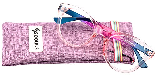 SOOLALA Lovely Hit Color Oversized Clear Lens Eye Glasses Frame Wide Reading Glasses, TransparentPink, - Best For Big Eyes Glasses