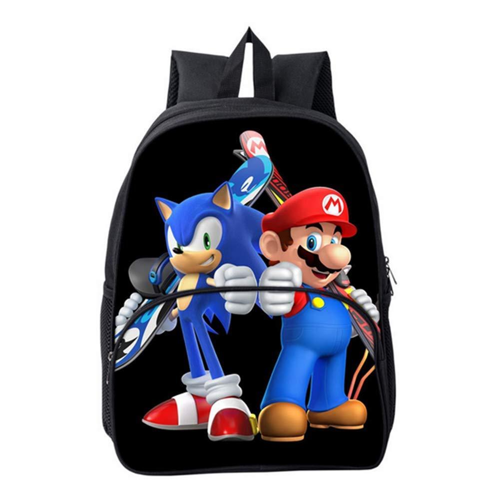 HGYYIO Ligero Mochila para ni/ños 3D Anime Sonic Impreso Mochilas Escolares para ni/ños Impermeable Nylon Kindergarten Primaria Bolsa de Libros de la Escuela,F