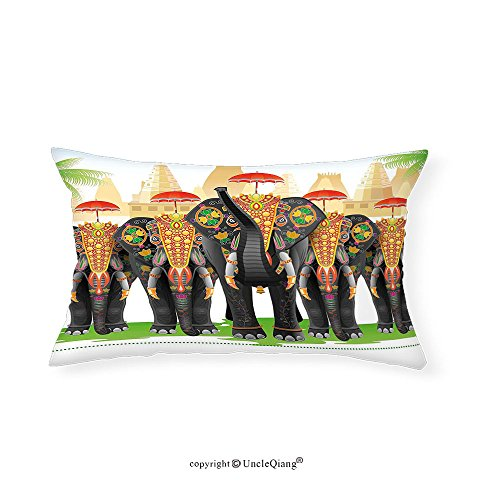 VROSELV Custom pillowcasesEthnic Elephants in Traditional Costumes with Umbrellas Ethnic Ceremony Ritual Graphic for Bedroom Living Room Dorm - Costume Audrey Diy Hepburn