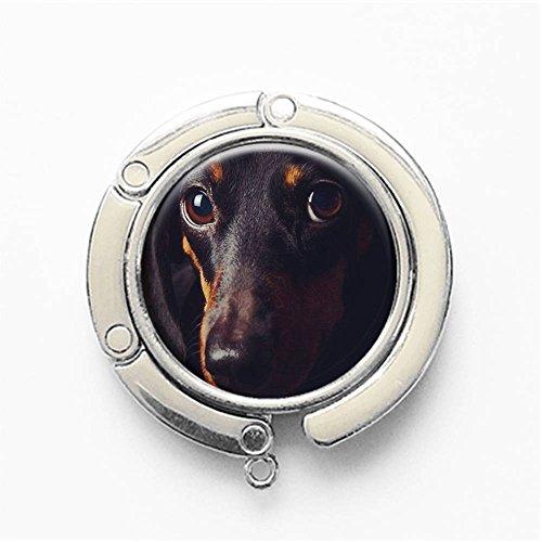 RhyNSky Dog Dachshund Puppy Wiener Dog Cute Animal Round Folding Foldable Handbag Hook Purse Hanger Holder for Table & Desk, ()