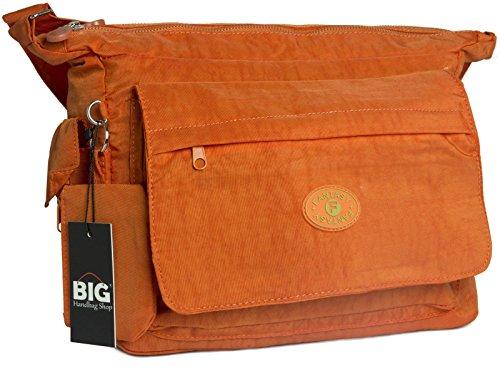 BHBS Bolso Unisex Mediano para Cruzar en Tela Liviana 38x29x4 cm (LxAxP) Naranja - naranja