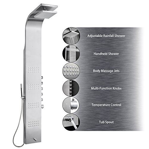 "AKDY AZ-8727F 65"" Thermostatic Rainfall Shower Panel Towe..."