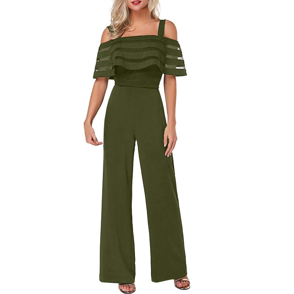 Wide Leg Rompers and Jumpsuits for Women Solid Color Sleeveless Cami Rompers for Women Lightweight Loose Jumpsuit Casual High Waist Overalls for Summer