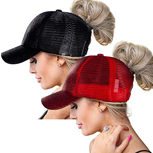 ZOORON High Ponytail Baseball Hats Cap for Women,Messy Bun Ponycaps Adjustable Cotton and Mesh (Glitter(Mesh)-Black/Red)