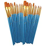 BOSOBO Paint Brushes Set, 2 Pack 20 Pcs Round Pointed Tip Paintbrushes Nylon Hair Artist Acrylic Paint Brushes for...
