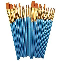 BOSOBO Paint Brushes Set, 2 Pack 20 Pcs ...