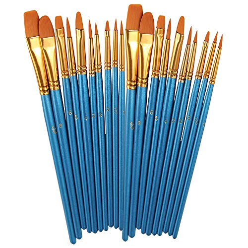 BOSOBO Paint Brushes Set, 2 Pack 20 Pcs Round Pointed Tip Paintbrushes Nylon Hair Artist Acrylic Paint Brushes for Acrylic Oil Watercolor, Face Nail Art, Miniature Detailing & Rock Painting, Blue -