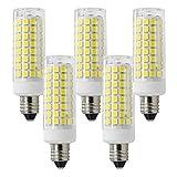 E11 Led Bulb, 75W Halogen Replacement E11 Led Light Bulbs, JD T4 E11 Mini Candelabra Base, Dimmable 7.5w E11 Led Bulb, AC110V/130V, 750LM,Ceiling E11 Light Bulb, 360° Daylight White 6000k 5pack