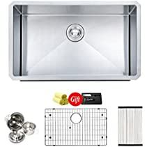 DuoMuo Handmade 30 Inch 16 Gauge 304 Stainless SteeL Single Bowl Kitchen Sink
