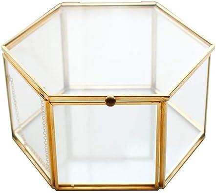 ATEZIEU Caja de Cristal Retro joyería Hexagonal Dorado Armario de Souvenirs Caja de decoración casa Caja de decoración Adornos Anillo Caja de aretes: Amazon.es: Joyería