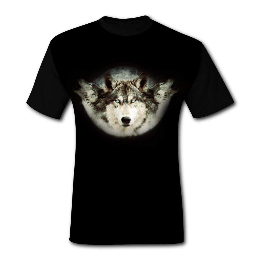 Mens 3D Printed Casual T-Shirt Fantasy 3 Wolf and Moon Short Sleeve Summer Stylish Tees