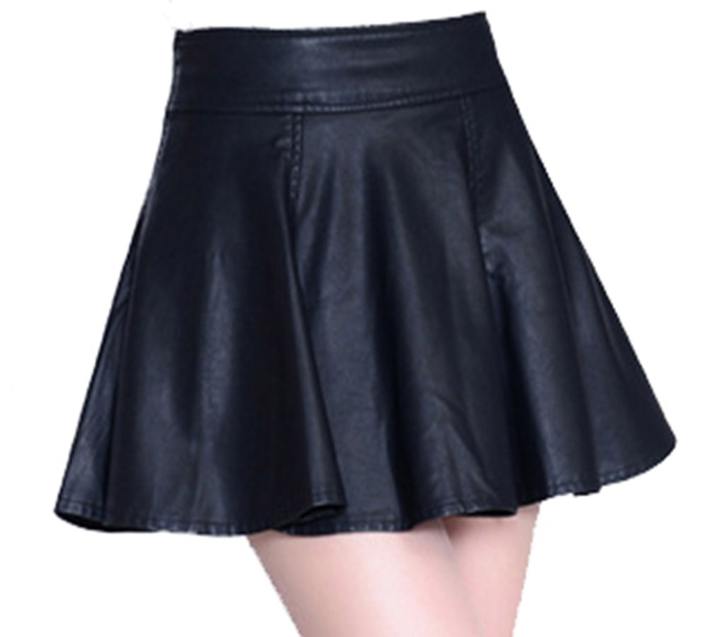 Helan Women's Preppy Style PU Leather Pleated Skirt Black US 12