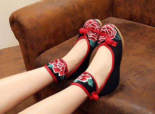 esfine bordado Zapatos, lino, tendón suela, estilo étnico, zapatos de mujer, Fashion, cómodo, aumento 5cm lienzo zapatos negro